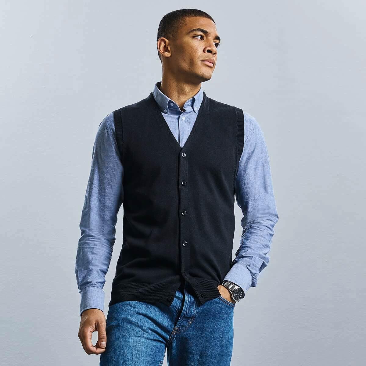 Russell - Men's V-Neck Sleeveless Knitted Cardigan